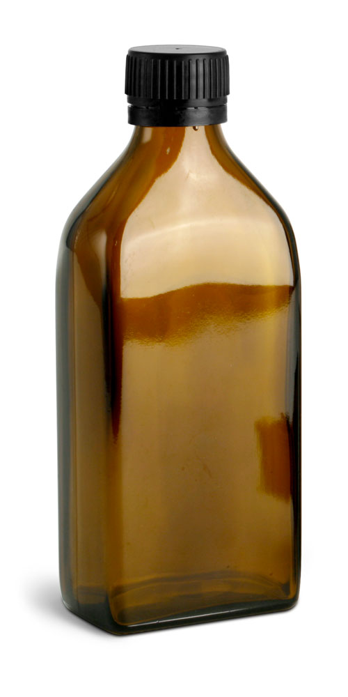 250 ml                Amber Glass Oblong Flasks w/ Black PP Ribbed Closures & Tamper Evident Seals w/ Pouring Inserts