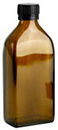 250 ml               250 ml                Amber Glass Oblong Flasks w/ Black PP Ribbed Closures & Tamper Evident Seals w/ Pouring Inserts