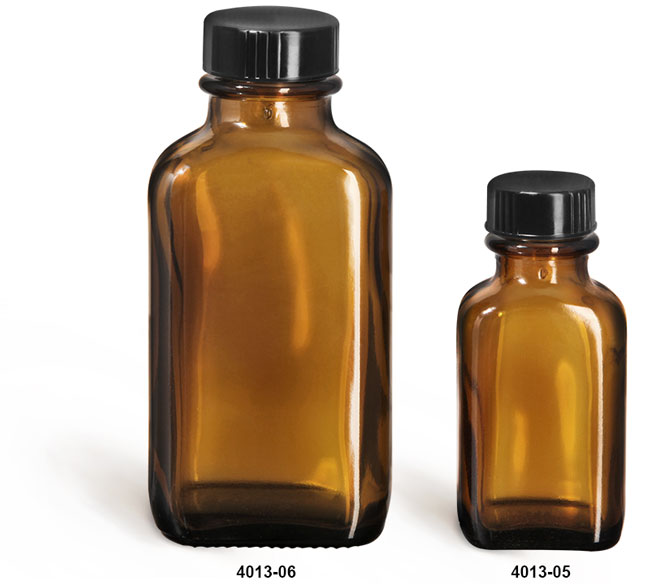 Glass Bottles, Amber Glass Oblong Bottles w/ Black Ribbed Phenolic Cone Lined Caps