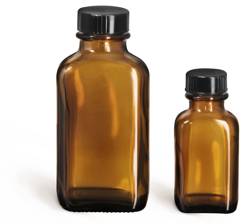Amber Glass Bottles, Oblong Bottles w/ Black Ribbed Phenolic Cone Lined Caps