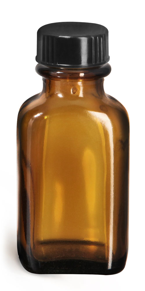 Glass Bottles, Amber Glass Blake Oval Bottles w/ Black Ribbed Phenolic Cone Lined Caps