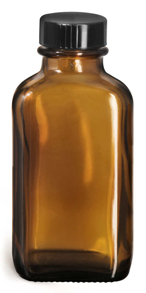 3 oz Glass Bottles, Amber Glass Blake Oval Bottles w/ Black Ribbed Phenolic Cone Lined Caps