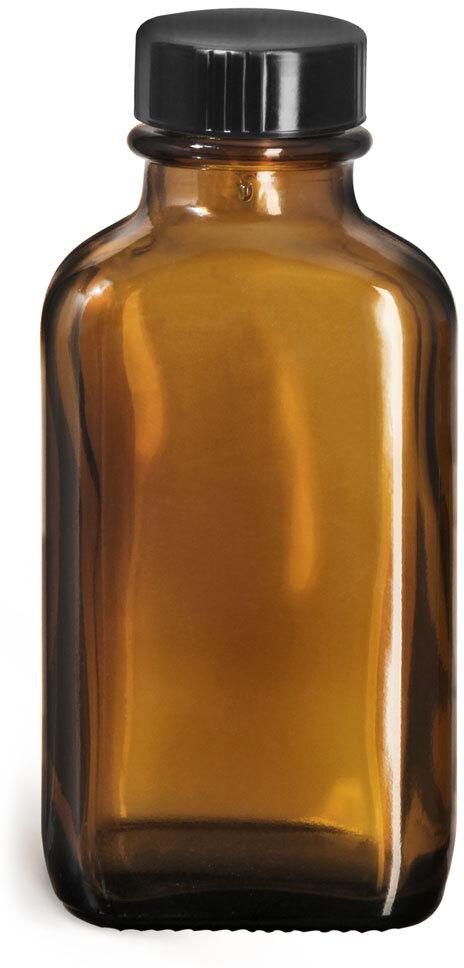 Glass Bottles, Amber Glass Blake Oval Bottles w/ Black Ribbed Phenolic Cone Lined Caps