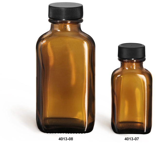 Glass Bottles, Amber Glass Oblong Bottles w/ Black Ribbed F217 Lined Caps