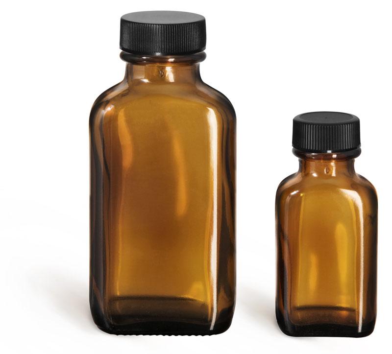 Amber Glass Bottles, Oblong Bottles w/ Black Ribbed PE Lined Caps