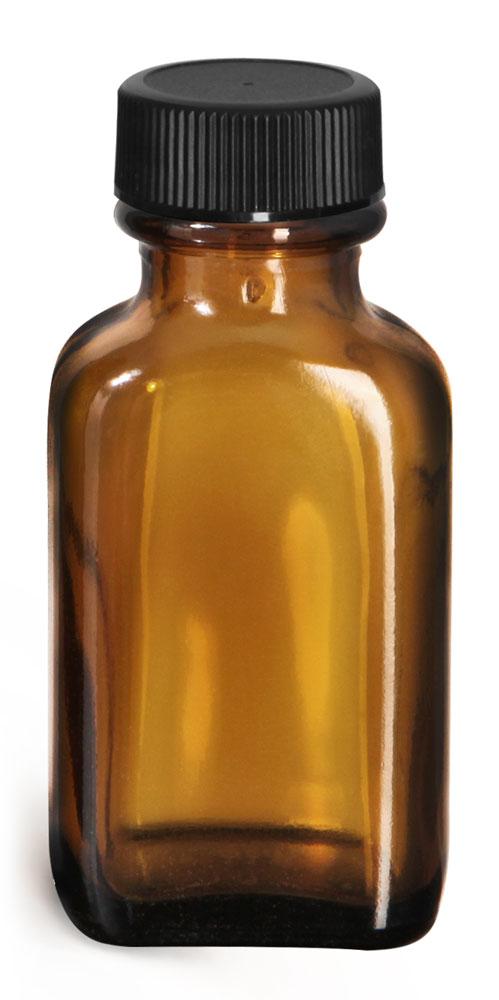 1 oz Glass Bottles, Amber Glass Oblong Bottles w/ Black Ribbed PE Lined Caps