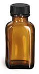 1 oz1 oz Glass Bottles, Amber Glass Oblong Bottles w/ Black Ribbed PE Lined Caps
