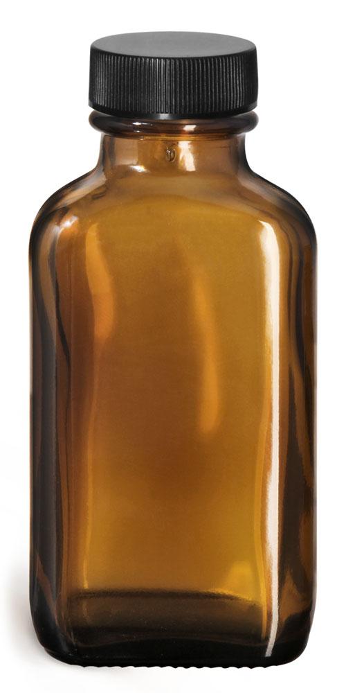 3 oz Glass Bottles, Amber Glass Oblong Bottles w/ Black Ribbed PE Lined Caps