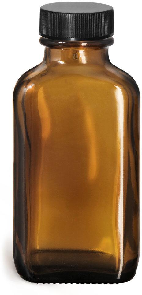Glass Bottles, Amber Glass Oblong Bottles w/ Black Ribbed PE Lined Caps