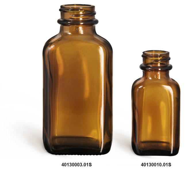 Glass Bottles, Glass Amber Oval Bottle (Bulk), Caps NOT Included