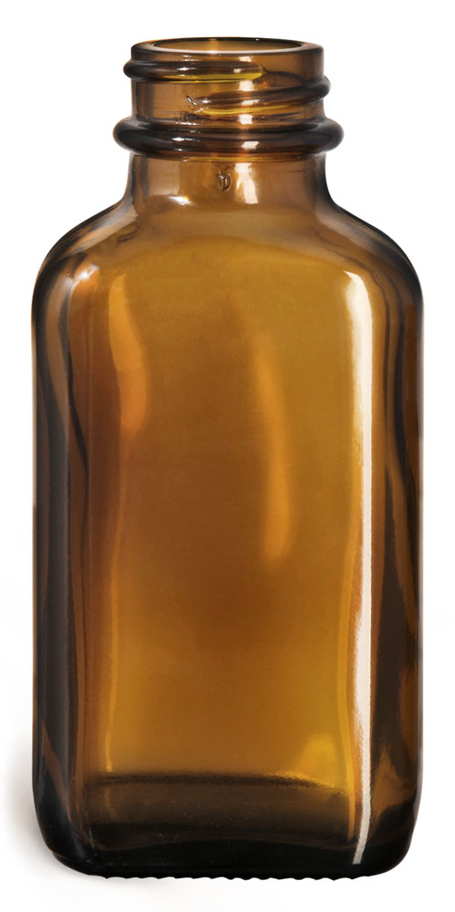 3 oz Glass Bottles, Glass Amber Blake Oblong Bottle, Bulk Caps (NOT) Included