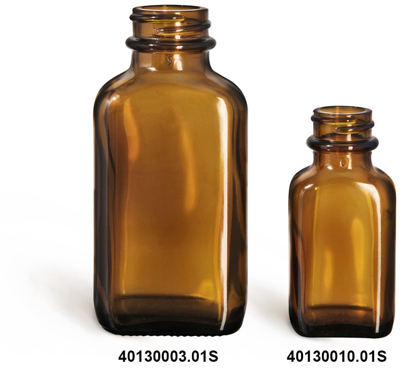 Glass Bottles, Glass Amber Oval Bottle (Bulk), Caps NOT Included