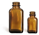 1 oz Glass Bottles, Glass Amber Blake Oblong Bottle, Bulk Caps (NOT) Included