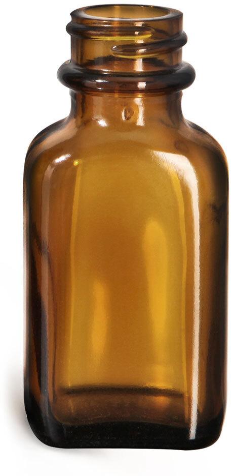 Glass Bottles, Glass Amber Blake Oblong Bottle, Bulk Caps (NOT) Included