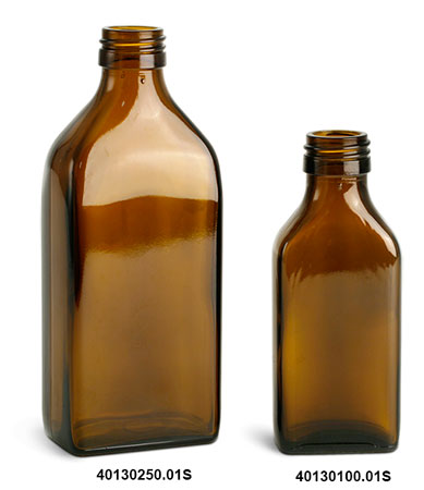 Amber Glass Oblong Flasks (Bulk) Caps NOT Included