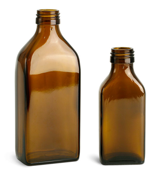 Amber Glass Oblong Flasks (Bulk), Caps NOT Included