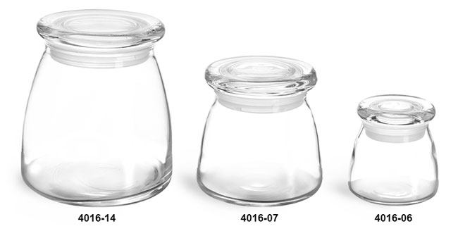 Glass Jars, Clear Glass Candle Jars w/ Glass Flat Pressed Lids