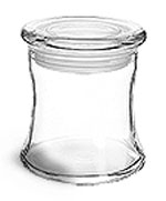 Glass Bath Salt Jars w/ Glass Flat Pressed Lids