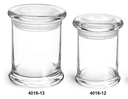 Clear Glass Jars, Clear Glass Candle Jars w/ Glass Flat Pressed Lids