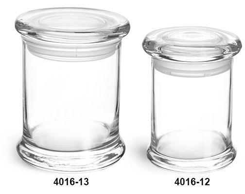 Clear Glass Jars, Clear Glass Candle Jars w/ Glass Flat Pressed Lids