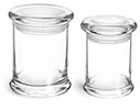 Clear Glass Jars, Glass Candle Jars w/ Glass Flat Pressed Lids