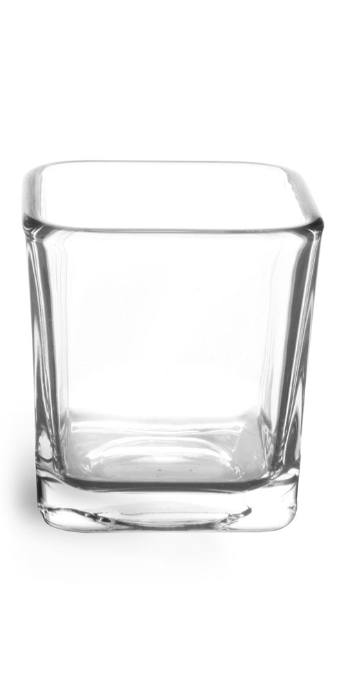 Clear Glass Square Candle Jars