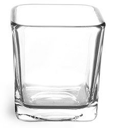 Glass Jars, 7.5 oz Clear Glass Square Candle Jars