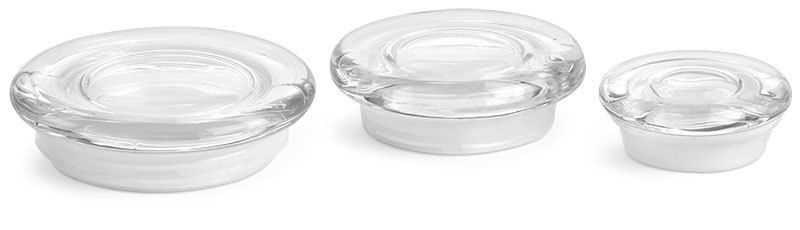 Large Clear Glass Flat Pressed Jar Lids w/ Fitments