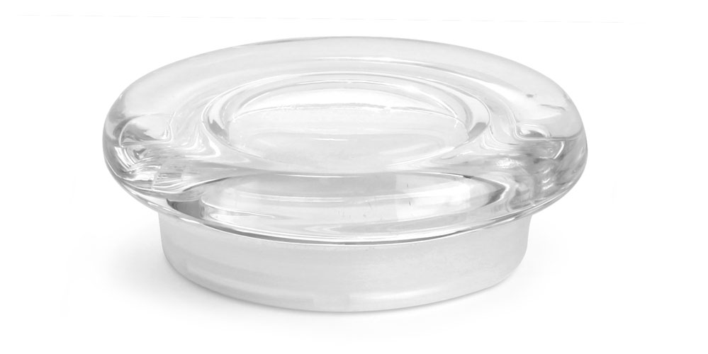 Medium Clear Glass Flat Pressed Jar Lids w/ Fitments