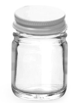 1 oz Clear Glass Jars w/ White Metal Plastisol Lined Caps