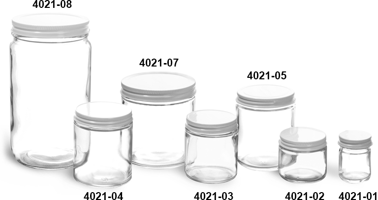 Clear Glass Jars, Clear Straight Sided Glass Jars w/ White Metal Plastisol Lined Caps