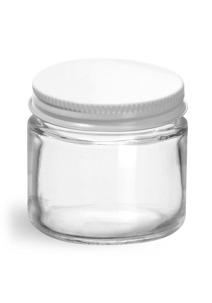 2 oz Clear Glass Jars w/ White Metal Plastisol Lined Caps
