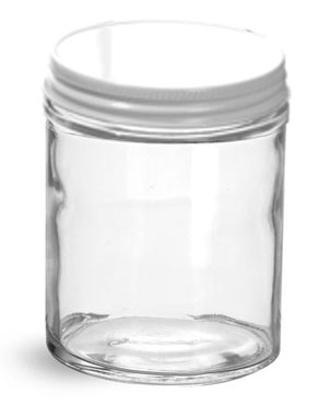 Clear Glass Jars w/ White Metal Plastisol Lined Caps