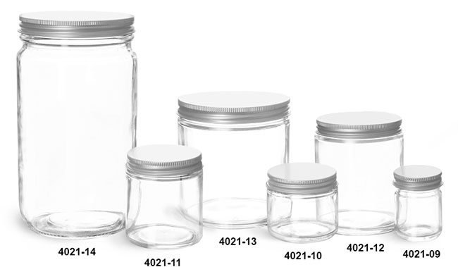 Clear Glass Jars, Clear Straight Sided Glass Jars w/ Lined Aluminum Caps