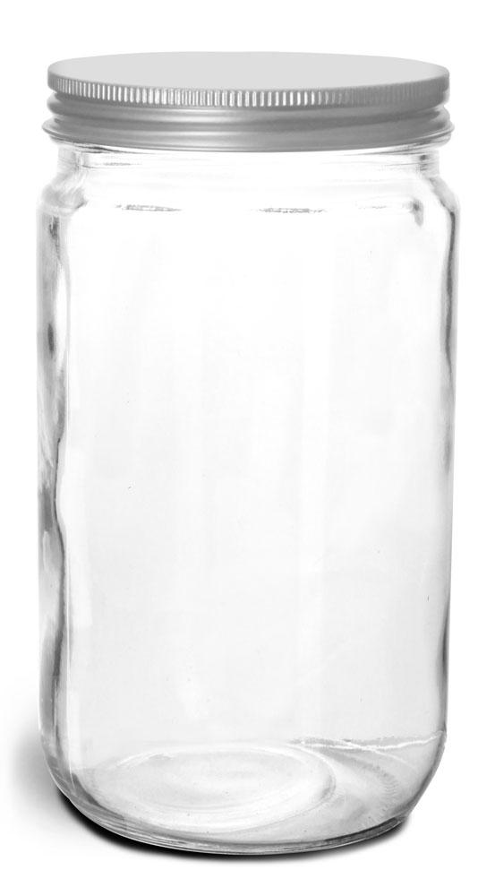 32 oz Clear Glass Jars w/ Lined Aluminum Caps