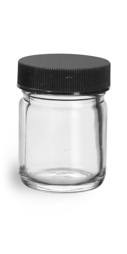 1 oz Clear Glass Jars w/ Lined Black Ribbed Plastic Caps