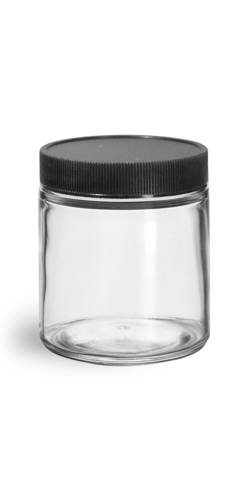 Clear Glass Jars w/ Lined Black Ribbed Plastic Caps