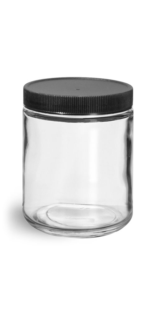 8 oz Clear Glass Jars w/ Lined Black Ribbed Plastic Caps