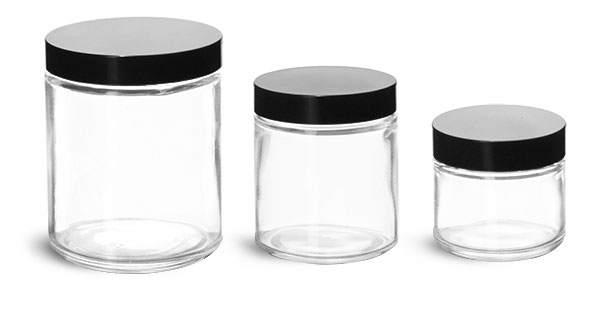 Clear Glass Jars, Clear Straight Sided Glass Jars w/ Black Phenolic Caps