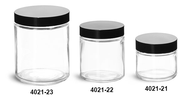 Clear Glass Jars, Clear Glass Straight Sided Jars w/ Black Phenolic Lined Caps