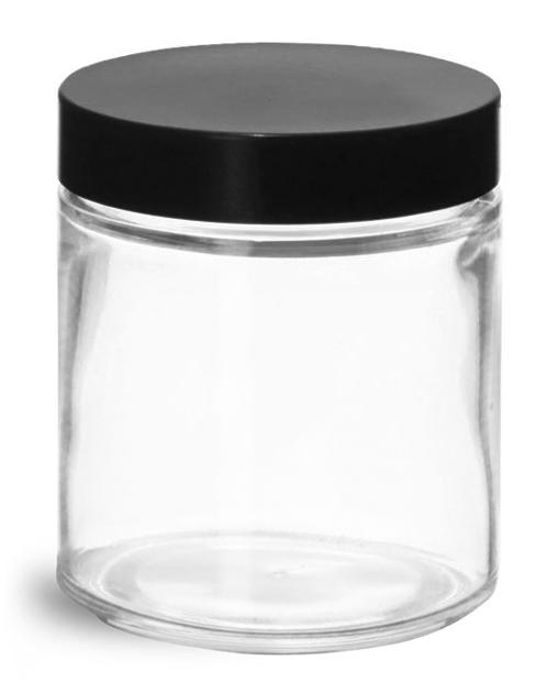 4 oz Clear Glass Jars w/ Black Phenolic Caps