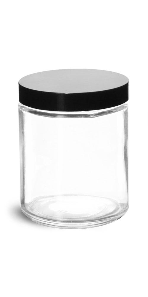 8 oz Clear Glass Jars w/ Black Phenolic Caps