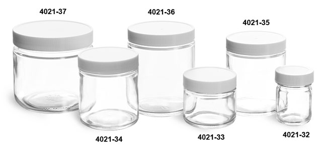 Glass Jars, Clear Glass Jars w/ Lined White Plastic Ribbed Caps