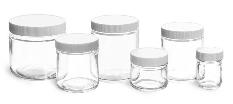 Clear Glass Jars, Clear Straight Sided Glass Jars w/ Lined White Plastic Ribbed Caps