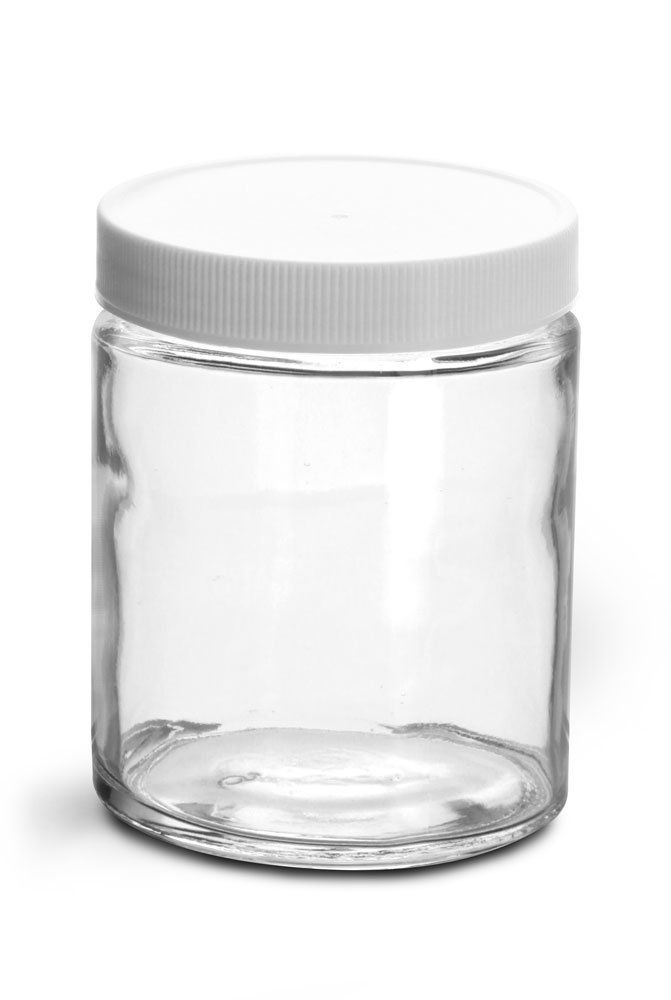 6 oz Clear Glass Jars w/ Lined White Plastic Ribbed Caps