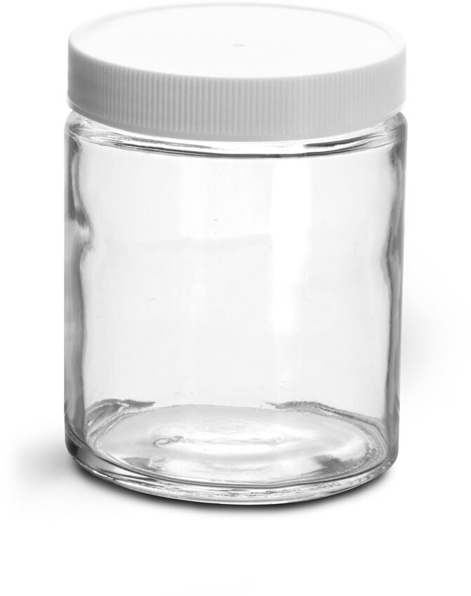 Clear Glass Jars w/ Lined White Plastic Ribbed Caps
