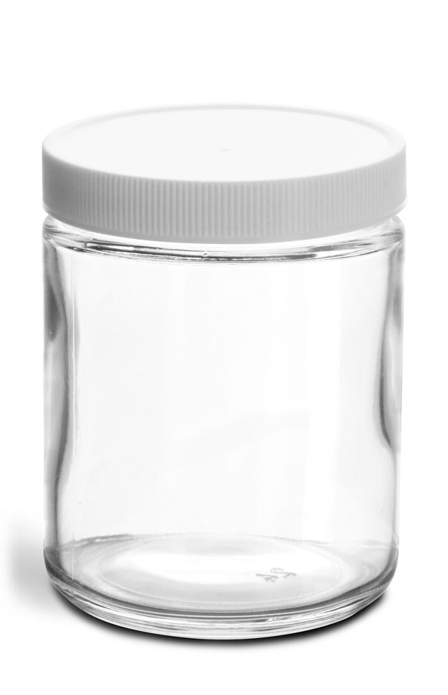 8 oz Clear Glass Jars w/ Lined White Plastic Ribbed Caps