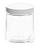 8 oz8 oz Clear Glass Jars w/ Lined White Plastic Ribbed Caps