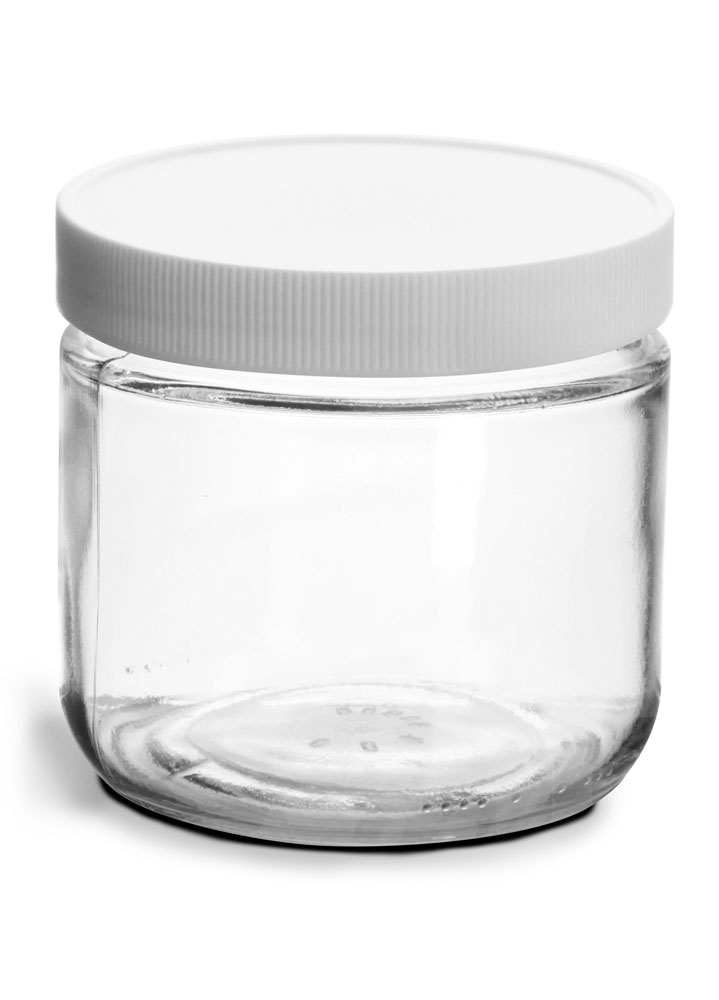 12 oz Clear Glass Jars w/ Lined White Plastic Ribbed Caps
