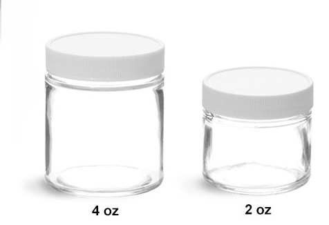 Clear Glass Jars, Clear Straight Sided Glass Jars w/ White Plastic Teflon Faced Lined Caps